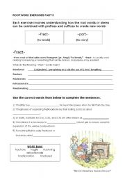 English Worksheets: Root Words (fract/port)