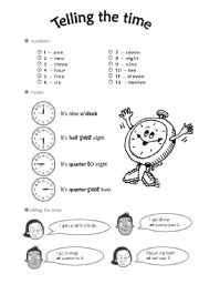 English Worksheet: Tellin time worksheet