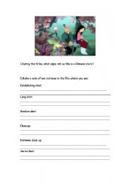 Worksheets Mulan Worksheet english teaching worksheets mulan film comprehension