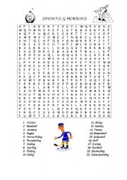 English Worksheet: Sports and Hobbies wordsearch