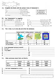 English Worksheets: interested in