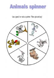 English Worksheet: ANIMALS SPINNER