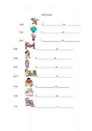 English Worksheet: Present simple and daily routines