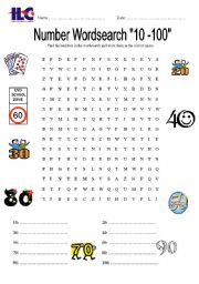 English Worksheets: 10-100 Wordsearch