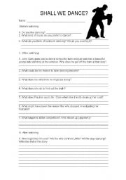 English Worksheet: worksheet: Shall we dance? film