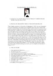 English Worksheets: Biography Elvis Presley