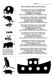 English Worksheets: Animals into the Ark