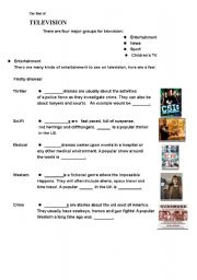 English Worksheets: The Best of TV