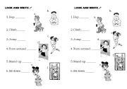English Worksheets: Looka and write
