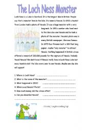 English Worksheet: Loch Ness