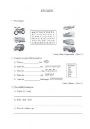 English Worksheets: avaliation