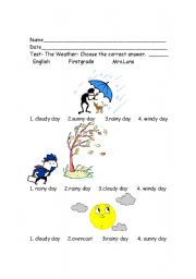 worksheet: The Weather test