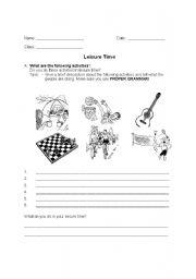 leisure time worksheet by lea tan. Black Bedroom Furniture Sets. Home Design Ideas