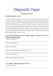 English Worksheets: Diagnostic paper
