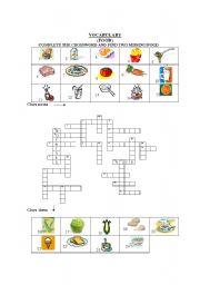 English Worksheet: crossword food