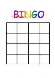 4x4 bingo template - english teaching worksheets bingo