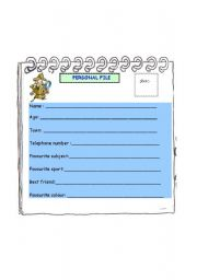 English Worksheets: Personal File