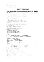 English Worksheet: I shot the Sheriff Bob Marley