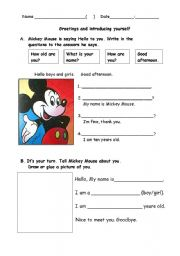 English Worksheet: Introduce yourself, meet Mickey Mouse