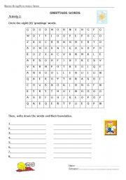English Worksheets: find the greetings words