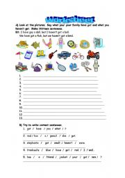 English Worksheet: What have you got ?