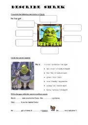 English Worksheet: DESCRIBE SHREK