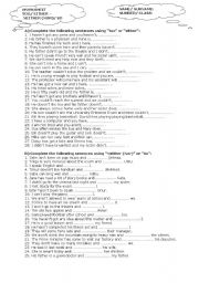 English Worksheet: either / neither , so/nor