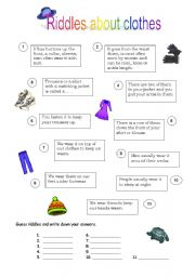 English Worksheets: Riddles about clothes