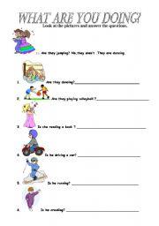 ... worksheets > Verbs > Verb tenses > Present continuous/progressive