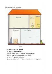 english worksheet household items test. Black Bedroom Furniture Sets. Home Design Ideas