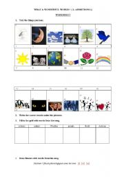 English Worksheets: What a wonderful world (L. Armstrong) part1