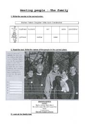 English Worksheet: Meeting people: the family.