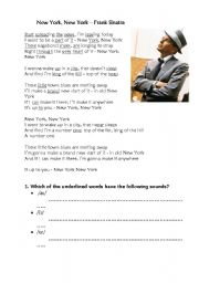 English Worksheet: New York, New York Frank Sinatra Pronunciation+ Informal English/ Slang
