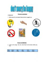 English Worksheets: Don´t worry be happy. Level 2