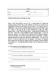 English Worksheets: reading comprehension about leaving school