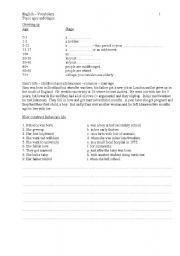 English Worksheets: Ages and stages