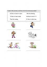 English worksheet: Like or Don´t like
