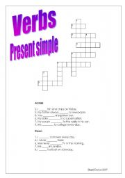 Present simple verbs crossword