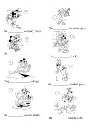 English Worksheet: Present Continuous with Disney - part II
