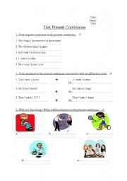 English Worksheet: Test Present Continuous