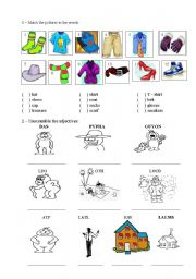 English Worksheet: CLOTHES, ADJECTIVES, FOOD