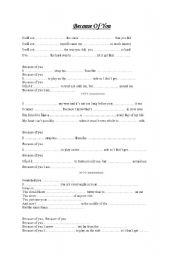 English Worksheet: Because of you 1