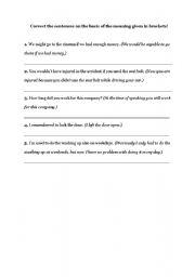 English Worksheets: sentence correction