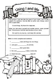Using I and Me Correctly: Two Worksheets | Common Core | Pinterest ...