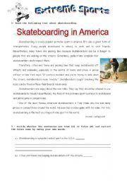 English Worksheets: skateboarding-reading comprehension