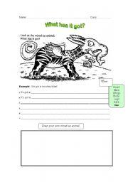 English Worksheets: mixed up animals