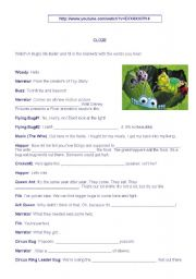 English Worksheets: A bug�s life - Movie trailer
