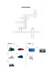 English Worksheet: Transports crosswords