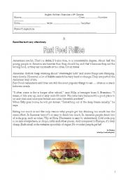 English Worksheet: Test on Food