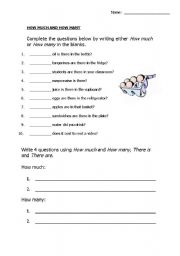 English Worksheets: how much or how many?